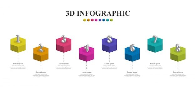 Infografía 3d creativa moderna con ocho pasos.