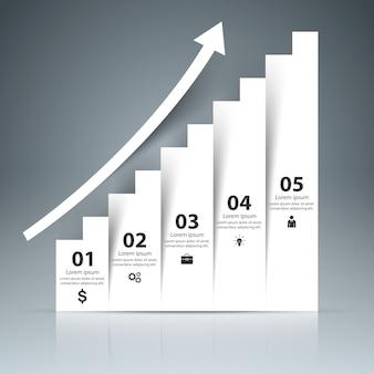 Infografía 3d y escalera de negocios.