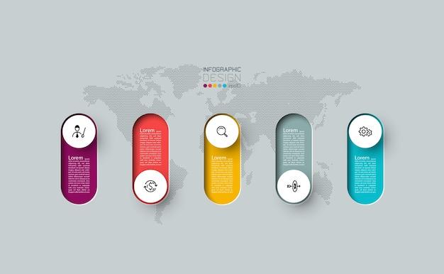 Infografía 3d etiqueta de círculo largo, infografía con procesos de opciones número 5.
