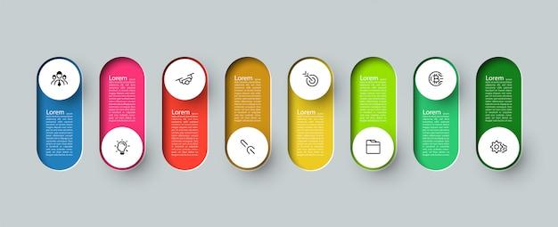 Infografía 3d etiqueta de círculo largo, infografía con procesos de opciones de número 8.