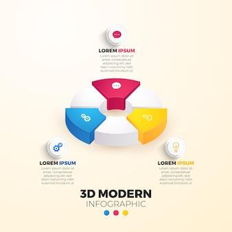 Infografía 3d moderna 3 elementos o pasos para presentaciones.