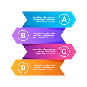 Infografía 3d pasos modernos coloridos conjunto