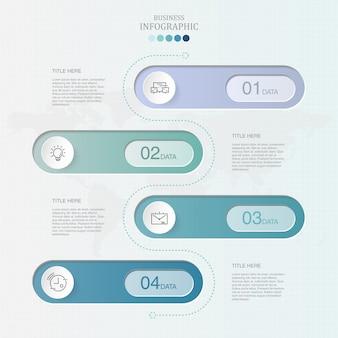 Infografía de 4 elementos y colores azules para el concepto de negocio.