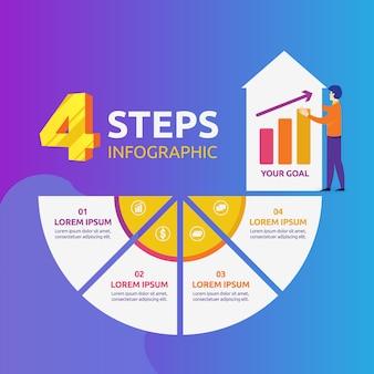 Infografía con 4 pasos para plantillas de marketing, financieras y de negocios.