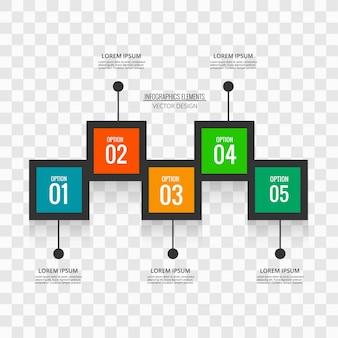 Infografía con 5 cuadrados