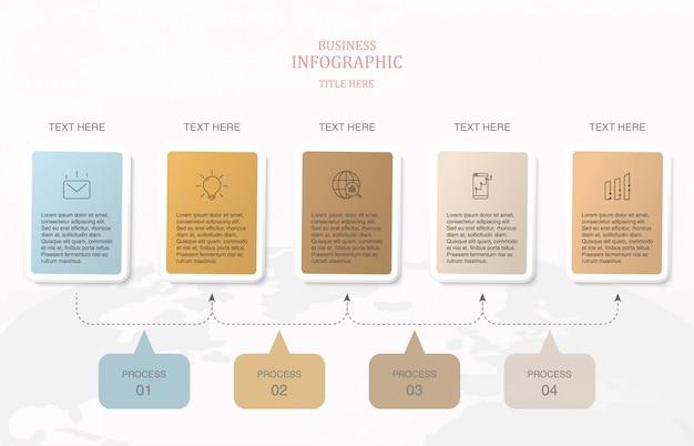 Infografía de 5 elementos cuadrados y colores básicos.