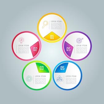 Infografía con 5 opciones, partes o procesos.