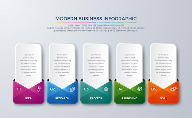 Infografía de 5 pasos con elemento de diseño de color degradado diferente.