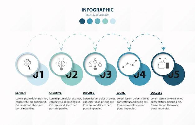 Infografía 5 plantilla de opciones de número para los negocios. concepto de color azul