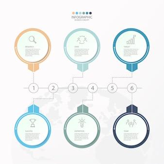 Infografía 6 elemento de círculos y colores básicos para el concepto de negocio actual. elementos abstractos, opciones, partes o procesos.