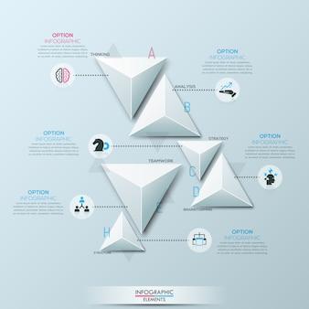 Infografía con 6 elementos triangulares de papel blanco separados