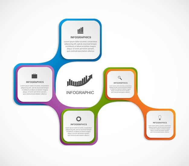 Infografía abstracta en forma de metabolismo. elementos de diseño.