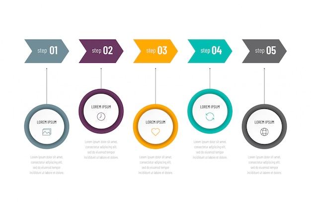 Infografía abstracta moderna con cinco pasos o elementos de procesos e iconos. concepto de negocio.