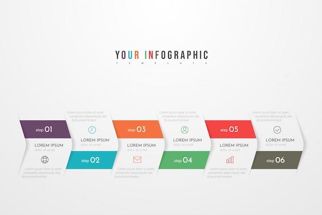 Infografía abstracta moderna con seis pasos o elementos de procesos. concepto de negocio. vector