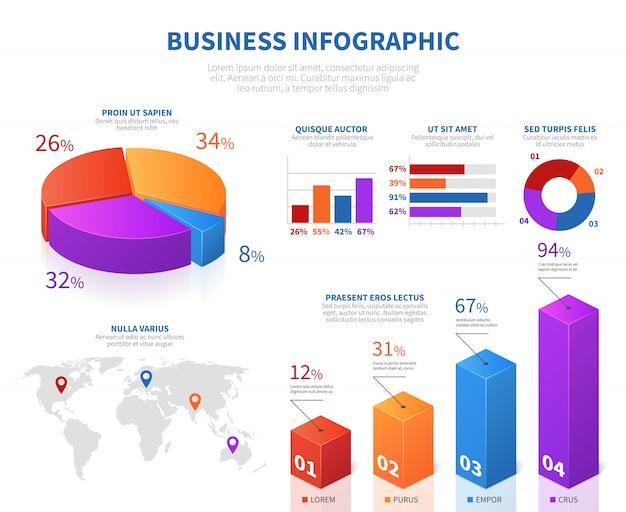 Infografía abstracta de negocios con información de tarta 3d char y barra gráfica