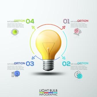 Infografía abstracta números opciones de paso, con ideas de bombilla