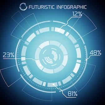 Infografía abstracta de tecnología futurista con texto de diagrama tecnológico y porcentaje sobre fondo azul