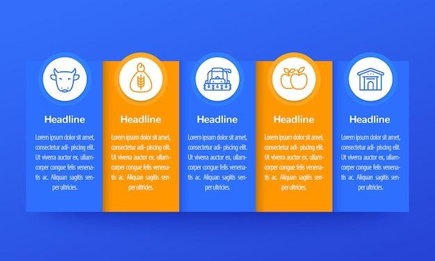 Infografía de agricultura y agricultura, diseño de banner con iconos de línea