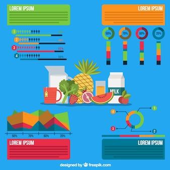 Infografía de alimentos sobre un fondo azul
