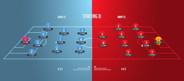 Infografía de alineaciones de fútbol o fútbol.