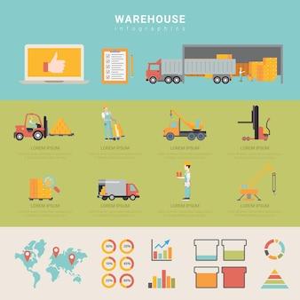 Infografía de almacén almacenamiento de entrega envío transporte gráfico de información empresarial.