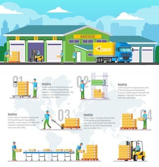 Infografía de almacén logístico