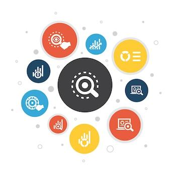 Infografía de análisis diseño de burbujas de 10 pasos.gráfico lineal, investigación web, tendencias, seguimiento de iconos simples