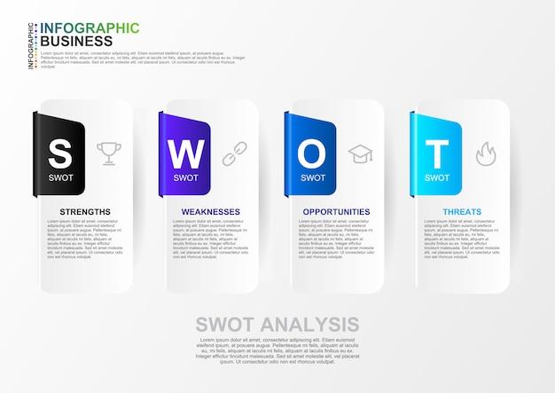Infografía de análisis foda para plantilla de negocio con diseño plano de 4 colores muti en vector. moderno banner de análisis swot