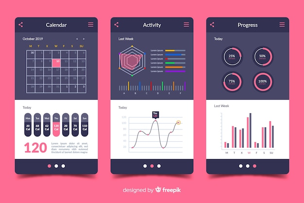 Infografía de aplicación de móvil de fitness