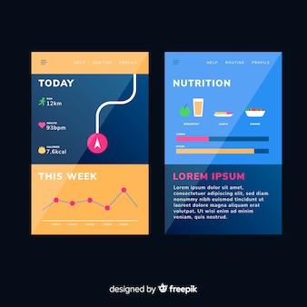 Infografía app móvil running diseño plano