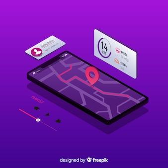 Infografía de app móvil de running en isométrico