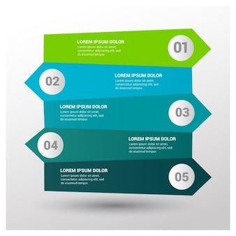 Infografía azul y verde con cinco opciones
