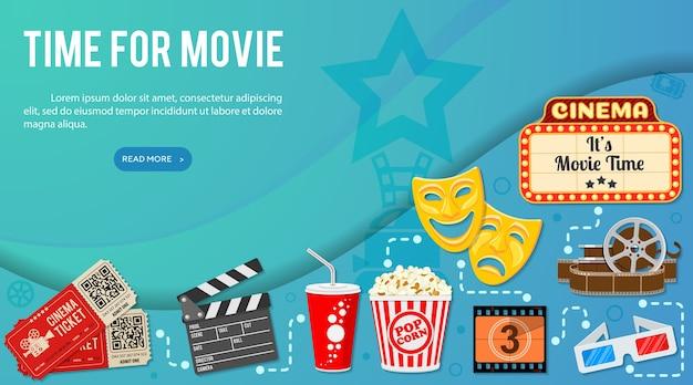 Infografía de banner de cine y película con iconos de palomitas de maíz, vasos, entradas.