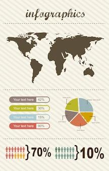 Infografía con barra ilustración de vector de estilo vintage