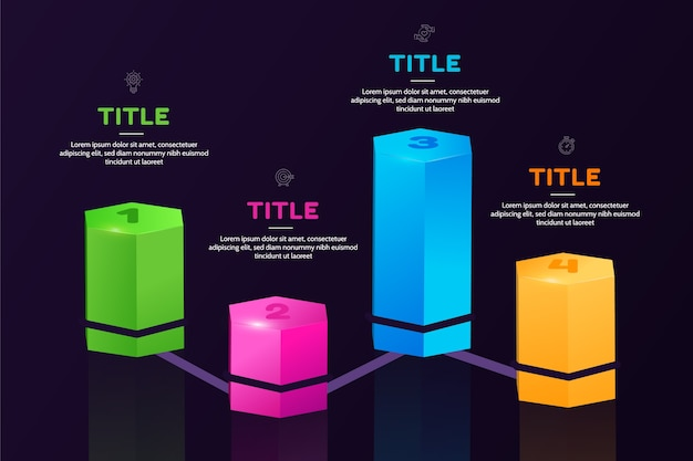 Infografía de barras 3d en diferentes colores