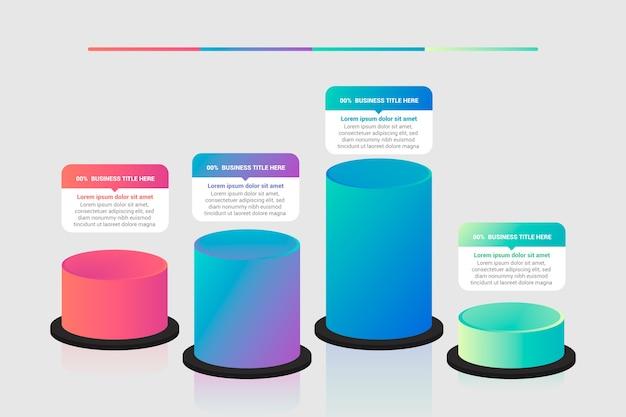 Infografía con barras 3d
