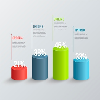 Infografía de barras 3d