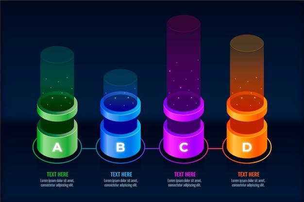 Infografía con barras de colores 3d