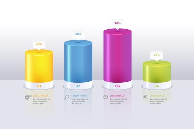 Infografía de barras multicolores