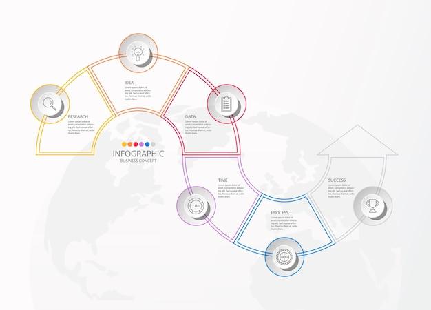 Infografía básica para el concepto de negocio actual. 8 opciones, piezas o procesos.