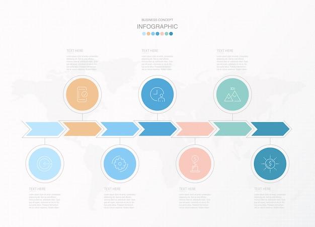Infografía básica para el concepto de negocio actual. elementos abstractos, 7 opciones.