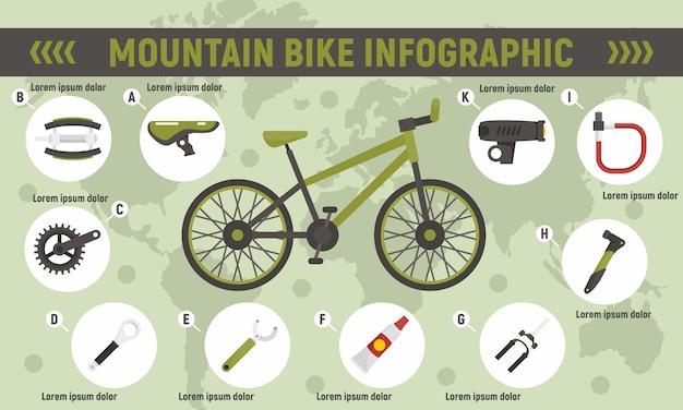 Infografía de bicicleta de montaña