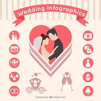 Infografía de boda plana