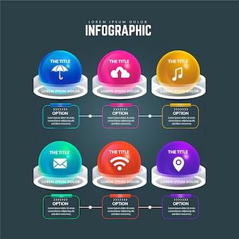 Infografía brillante 3d