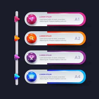 Infografía brillante tridimensional