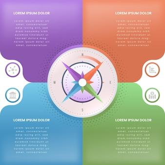 Infografía de brújula isométrica