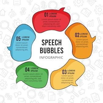 Infografía de burbujas de discurso dibujadas a mano