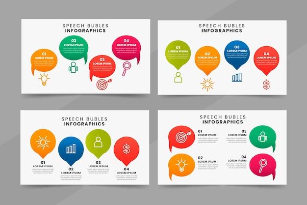 Infografía de burbujas de discurso de diseño plano