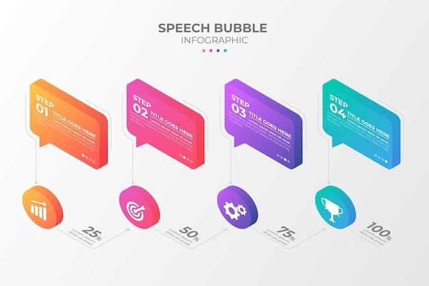 Infografía de burbujas de discurso isométrico