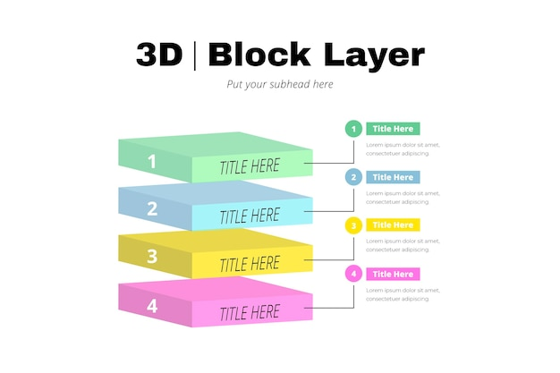 Infografía de capas de bloque 3d